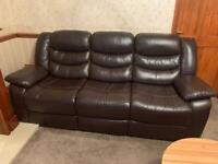 Brown Recliner Leather Sofas x 3, from Cousins