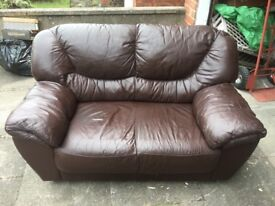 FREE - Brown Leather 2 Seater Sofa