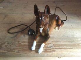 Original vintage kitsch Alsatian dog light-up figurine