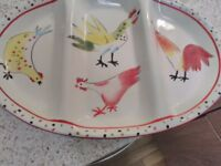 HAND PAINTED LARGE PLATE WITH CHICKENS