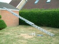 Professional Abru triple ext. ladder (BS EN131) inc. stopper & stand-off. Work height up to 27ft.