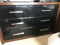 Next - great condition Black Gloss & oak top Bedroom Set