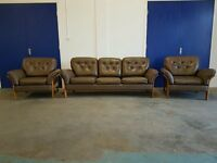 RETRO SCANDINAVIAN LEATHER BERGERE SET 3 SEATER SOFA / LOUNGE SUITE / SETTEE & 2 CHAIRS ULFERTS