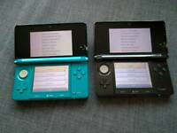 2 Nintendo 3ds in excellent condition with stylus and a case