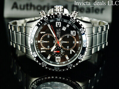 Invicta Men's 45mm PILOT Specialty Chronograph Black Dial Silver Tone SS Watch