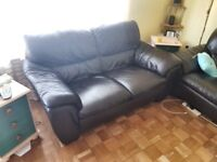3 & 2 seater black leather sofas. Excellent condition