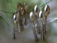4 teas spoons + 5 smaller teaspoons-silver plate-Oneida
