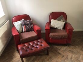 Vintage Art Deco Club Chairs with foot stool