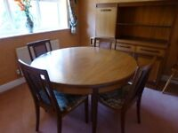 G plan – round extending dining table and 4 upholstered chairs
