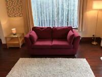Brand New Wine Red Fabric 2 Seater Sofa - HOME Eleanor Cost £259 Delivery Possible