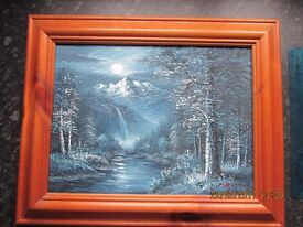 Blue Oil Painting Framed in Wooden Frame