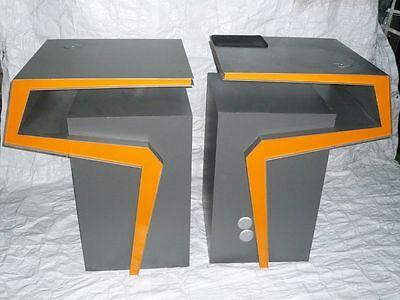 Designer Stehpult / Stehtisch grau silber Sonderanfertigung