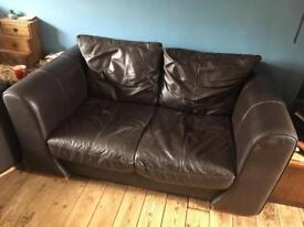 2 seat sofa. Brown leather.