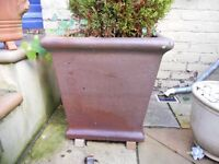 Two huge, rustic, tapered, matching square stoneware plant pots