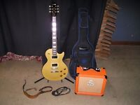EPIPHONE GIBSON LES PAUL GOLD TOP GUITAR WITH ORANGE AMP ETC