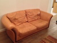 Tan Leather 3 seater and 2 seater sofas and footstool