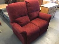 MIDDLETON WINE COLOUR UPRIGHT SOFA WITH ARMCHAIR AND ELECTRIC RISE AND RECLINE CHAIR