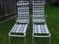 Caravan, Motorhome, camping lightweight folding reclining chairs with footstools x two