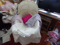Baby Moses Basket Bassinet with Stand and Bedding and Nappies Like New