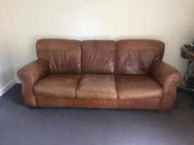 tan leather three seater sofa. SOLD