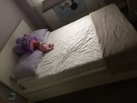 White double bed with mattress and 4 underbed drawers