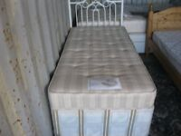 MODERN SINGLE DIVAN WITH QUALITY MATTRESS & ORNATE WHITE METAL HEADBOARD. VIEWING/DELIVERY POSSIBLE