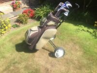 Left hand Callaway Steelhead Golf Club Set with Bag and Trolley