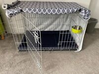 Dog Crate, Mattress, Cover and Bowl