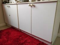 2 White small cupboards/Wardrobes with One Self, Two Doors & Boarders