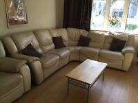 7 seater cream leather corner sofa for free must collect.