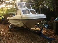 Wilson Flyer fishing boat with 80hp engine and road trailer