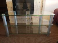 Large glass and chrome TV stand with 2 shelves. Bargain at £15.