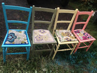 4x Shabby chic Upcycled chairs,*Unique*