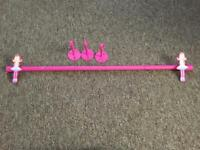 Girls pink curtains rail free