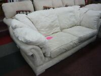 Beautifully White/cream Cotton Floral patterned suite, 2 + 3 seater.