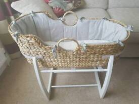 Mamas and Papas Sprinkle Moses basket and rocking stand