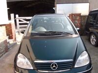 Mercedes A140 Elegance Auto Dark Green 2003 Spares or Repair Runs well but not needed.