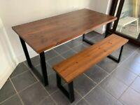 Industrial Style Solid Wood Dining Table and Bench