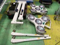 Operating Theatre Lights/Hanaulux 4 & 5 Bank Chandeliers/Batteries/Vet Surgeon