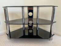 TV stand in black glass / chrome