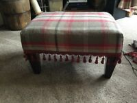 Large foot stool upholstered in trinity rosso tweed