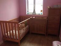 Mothercare 3 Piece Set (Cot Bed, Tallboy & Changer) plus brand new mattress £100
