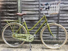 Women's green Dutch style bicycle (bike) Orla Kiely design and accessories