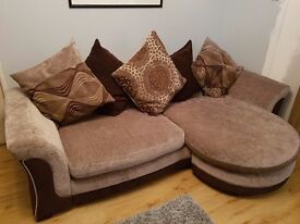 4 seater corner sofa and matching 3 seater with footstool