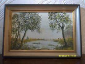 Oil painting picture art signed Fred Vize of country scene with trees & pond