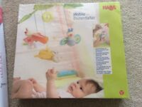 HABA Baby Blossom Butterfly mobile and Sigikid mobile bracket, both brand new and unopened