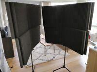 4 large pieces of auralex acoustic foam + stands