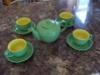 cups and sauces plus teapot