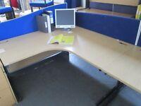 Used Large Oak Radial Desks Priced Each