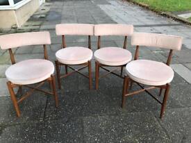 Set of four Danish Teak retro 1970s dining chairs